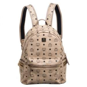 MCM Light Beige Visetos Leather Studded Stark Backpack