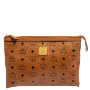 MCM Cognac Visetos Coated Canvas Pouch