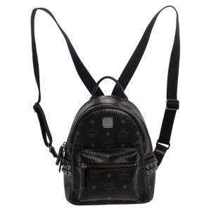 MCM Black Visetos Coated Canvas Mini Stark Backpack