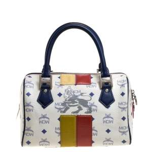 MCM White/Blue Visetos Princess Lion Coated Canvas and Leather Boston Bag