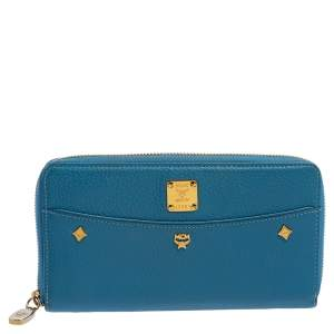 MCM Cornflower Blue Leather Zip Around Continental Wallet