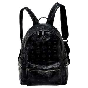 MCM Black Visetos Coated Canvas Medium Studs Stark Backpack