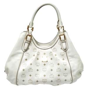 MCM White Visetos Coated Canvas and Leather Shoulder Bag