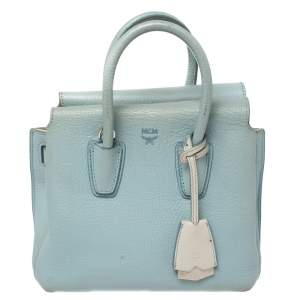 MCM Blue Leather Mini Milla Tote