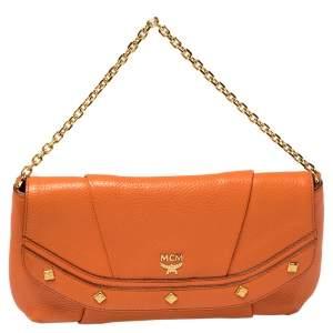 MCM Orange Pebbled Leather Studded Flap Chain Shoulder Bag