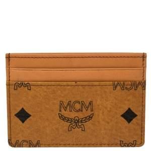 MCM Brown Leather Klassik Monogram Print Cardholder