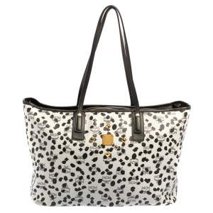 MCM Black/White Visetos Coated Canvas and Leather Dalmatian Loveless Tote