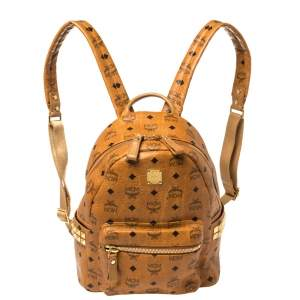 MCM Cognac Visetos Coated Canvas Small Studs Stark Backpack