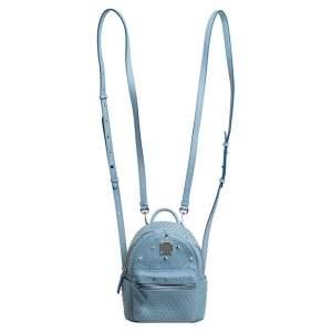 MCM Sky Blue Studded Leather Mini Stark Bebe Boo Backpack