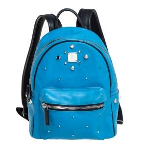 MCM Sky Blue Visestos Faux Leather and Leather Stardust Backpack