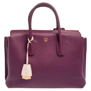 حقيبة يد إم سي إم ميلا متوسطة جلد بنفسجي