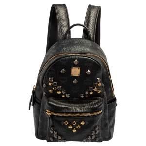 حقيبة ظهر إم سي إم ستارك مرصعة صغيرة كانفاس مقوى فيستوس وجلد سوداء
