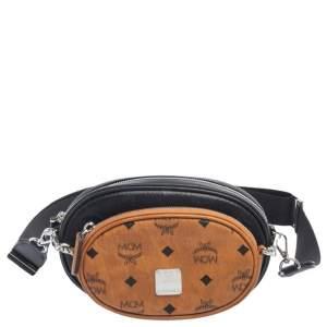 MCM Black/Cognac Visetos Coated Canvas Essential Multifunction Crossbody Bag