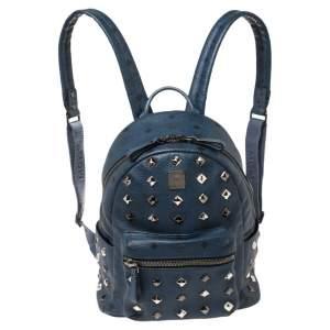 حقيبة ظهر إم سي إم ستارك مرصعة صغيرة كانفاس مقوى فيستوس وجلد زرقاء