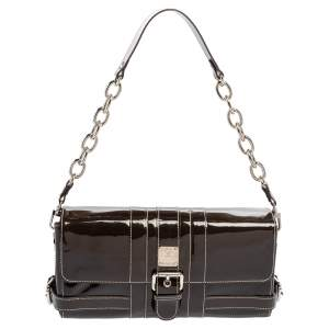 MCM Brown Patent Leather Buckle Detail Flap Shoulder Bag
