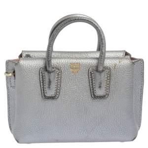 MCM Silver Leather X Mini Milla Crossbody Bag