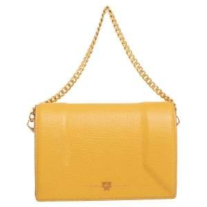 MCM Yellow Leather Flap Chain Crossbody Bag
