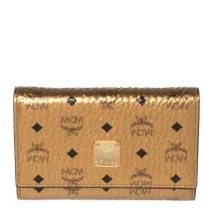 MCM Metallic Bronze Visetos Coated Canvas Trifold Compact Wallet