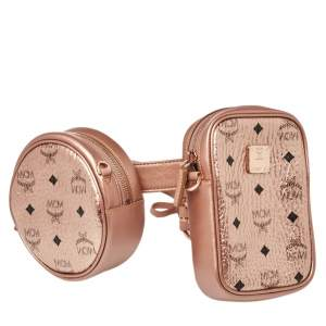 MCM Metallic Rose Gold Visetos Coated Canvas and Leather Double Belt Bag