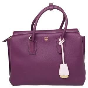 حقيبة يد توتس إم سي إم ميلا جلد بنفسجي متوسطة