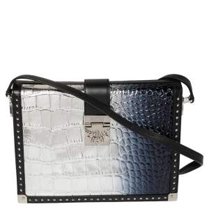 MCM Silver Ombre Croc Embossed Patent and Leather Mitte Degrade Kroko Shoulder Bag