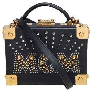 حقيبة إم سي إم صندوقية برلين مزخرفة مرصعة جلد أسود