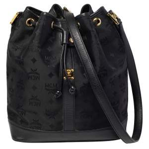 MCM Black Canvas and Leather Drawstring Bucket Bag