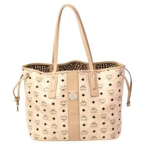 MCM Beige Coated Canvas Large Tote