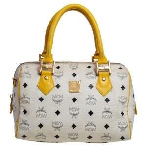 حقيبة أم سي أم هيريتيج بوسطن جلد فيستوز أبيض / أصفر