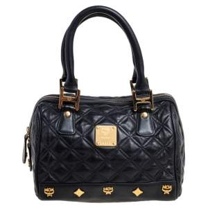 MCM Black Quilted Leather Embellished Boston Bag