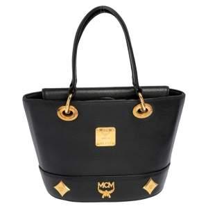 حقيبة يد توتس إم سي إم جلد سوداء مرصعة