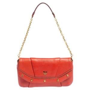 MCM Orange Leather Studded Flap Chain Shoulder Bag