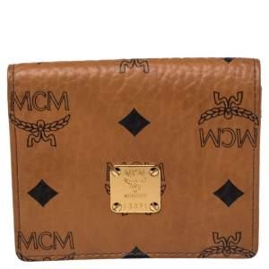 MCM Cognac Visetos Coated Canvas Flap Card Holder