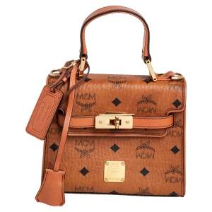 MCM Brown Visetos Coated Canvas and Leather Embellished Mini Heritage Top Handle Bag