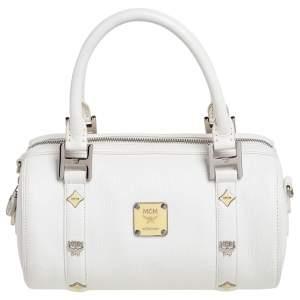 MCM White Leather Small Boston Bag