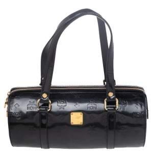 MCM Black Patent Leather Mini Rolle Boston Bag