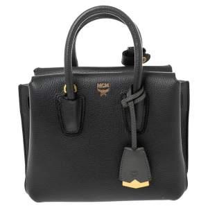 حقيبة يد توتس إم سي إم ميلا جلد رصاصي داكن صغيرة