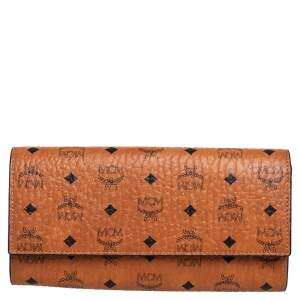 MCM Cognac Visetos Coated Canvas and Leather Continental Wallet
