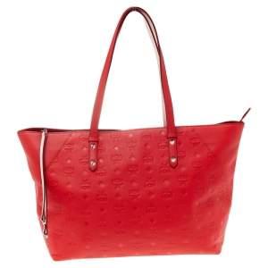 MCM Red Monogram Leather Klara Tote