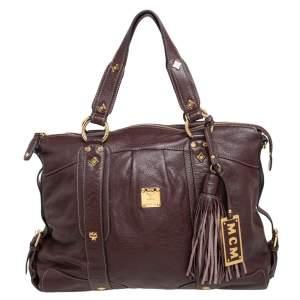 MCM Dark Brown Leather Tassel Satchel
