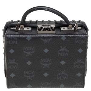 MCM Black Visetos Leather Studded Berlin Box Shoulder Bag