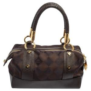 MCM Dark Brown Signature Canvas and Leather Satchel