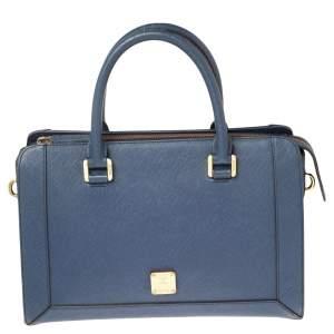 MCM Blue Leather Top Zip Satchel