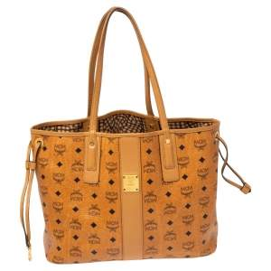 MCM Cognac Visetos Coated Canvas and Leather Reversible Shopper Tote