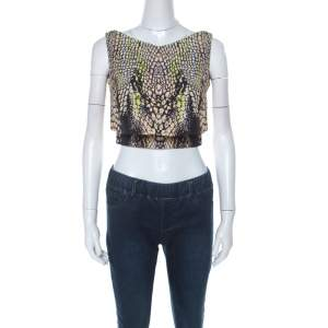 McQ by Alexander McQueen Croc Print Layered Crop Top S