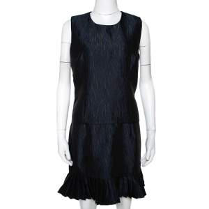Mcq by Alexander McQueen Navy Blue Jacquard Pleated Mini Dress M