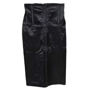 McQ by Alexander McQueen Black Cotton Blend Corset Waist Detail Pencil Skirt S