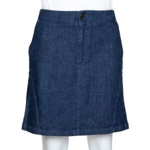 McQ by Alexander McQueen Indigo Denim Zip Detail A Line Mini Skirt S