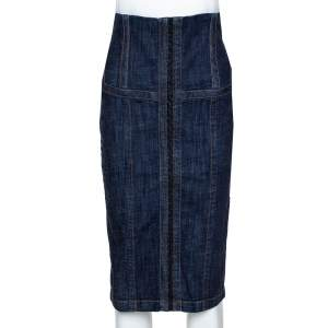 McQ by Alexander McQueen Indigo Denim Corset Waist Detail Pencil Skirt S