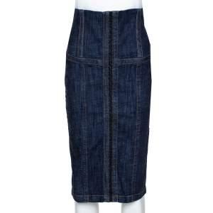 McQ by Alexander McQueen Indigo Denim Corset Waist Detail Pencil Skirt M